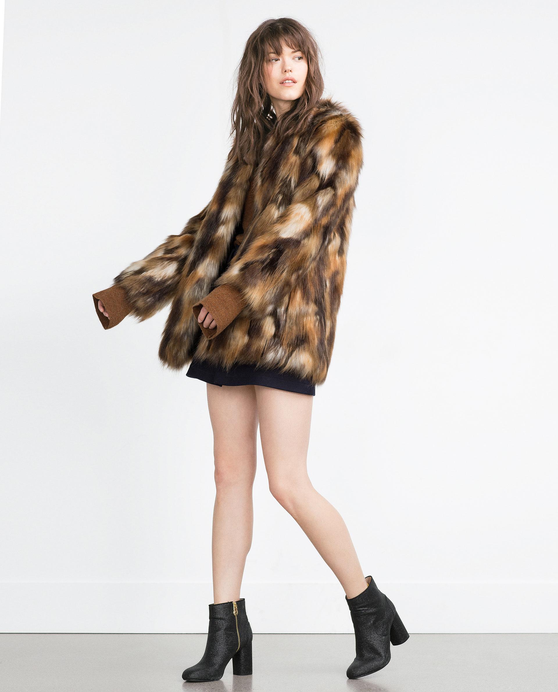 Zara femme manteau fourure