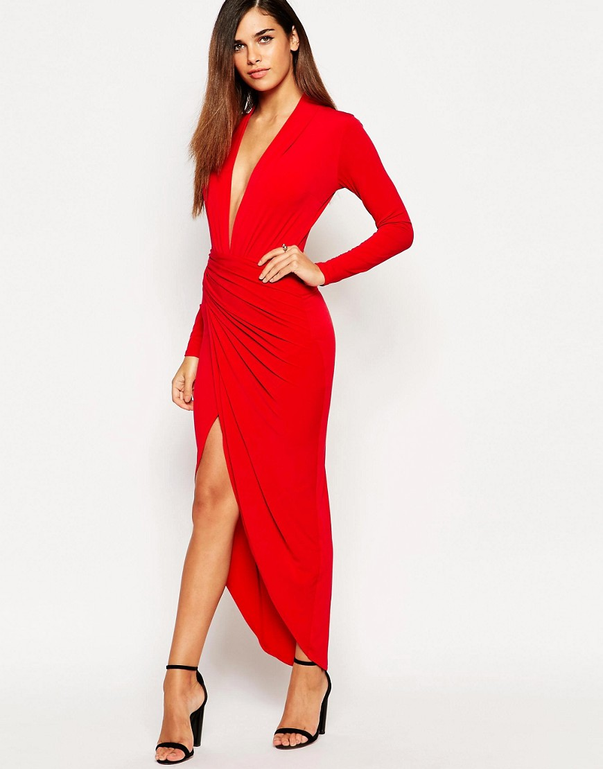robe longue rouge john zack petite asos teeps. Black Bedroom Furniture Sets. Home Design Ideas